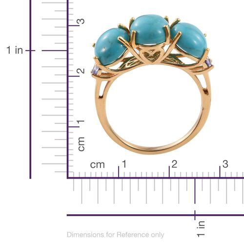 Arizona Blue Turquoise (Ovl), Tanzanite Ring in 14K Gold Overlay Sterling Silver 6.950 Ct.