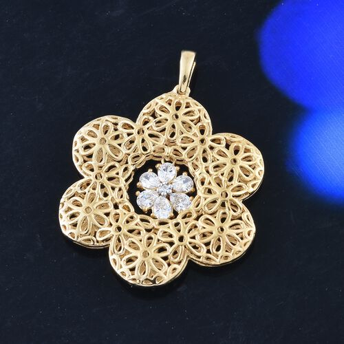 J Francis - 14K Gold Overlay Sterling Silver (Rnd) Floral Pendant Made with SWAROVSKI ZIRCONIA.Silver WT 6.5 Gms