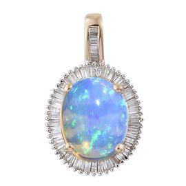 9K Y Gold AAA Ethiopian Welo Opal (Ovl 2.37 Ct), Diamond Pendant 2.650 Ct.