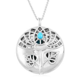 RACHEL GALLEY Arizona Sleeping Beauty Turquoise Lotus Locket Pendant with Chain (Size 30) in Rhodium Plated Sterling Silver. Silver Wt 30.52 Gms