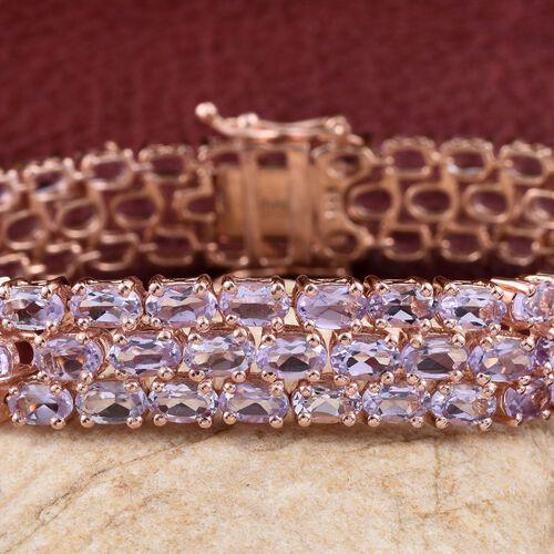 Rose De France Amethyst (Ovl) Bracelet (Size 7.5) in Rose Gold Overlay Sterling Silver 23.250 Ct.