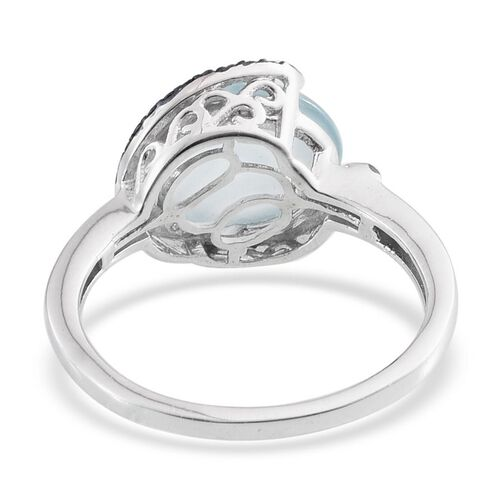 Espirito Santo Aquamarine (Ovl 4.50 Ct), Blue Diamond Ring in Platinum Overlay Sterling Silver 4.550 Ct.