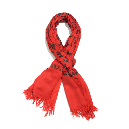 100% Merino Wool Red and Black Colour Paisley and Leaves Embroidered Scarf with Tassels (Size 180X68 Cm)
