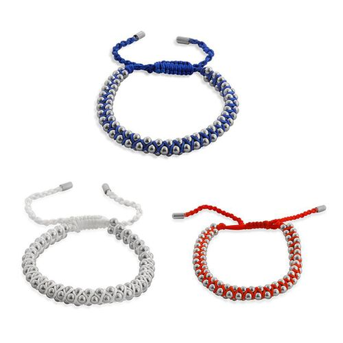 Set of 3 - Red, Blue and White Bracelets on Silk Cord in Stainless Steel (Adjustable)