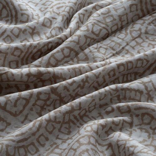 100% Cotton Light Grey Colour Hand Block Printed Scarf (Size 195x105 Cm)