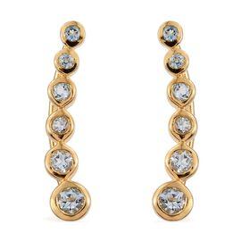 Espirito Santo Aquamarine 0.85 Ct Silver Climber Earrings in Gold Overlay