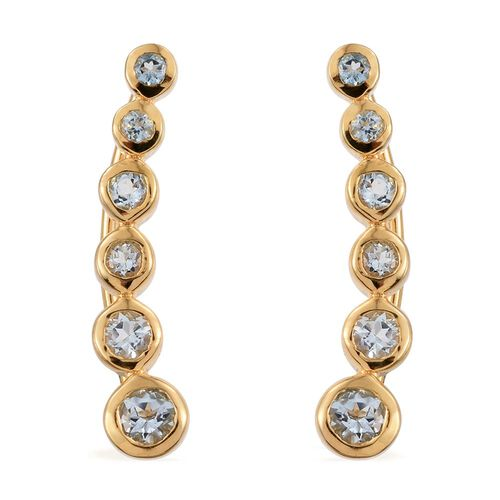 Espirito Santo Aquamarine 0.85 Ct Silver Climber Earrings in Gold Overlay