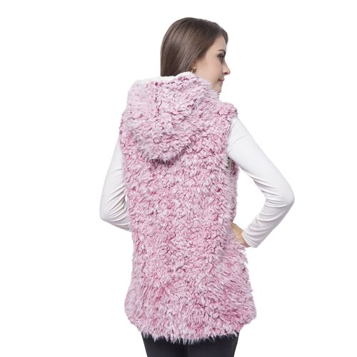 Close Out One Time Deal- Pink Colour Faux Fur Hoodie Reversible Gilet (Size 70X50 Cm)