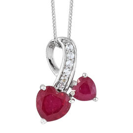 2.25 Ct African Ruby and White Topaz Heart Pendant with Chain in Platinum Plated Silver