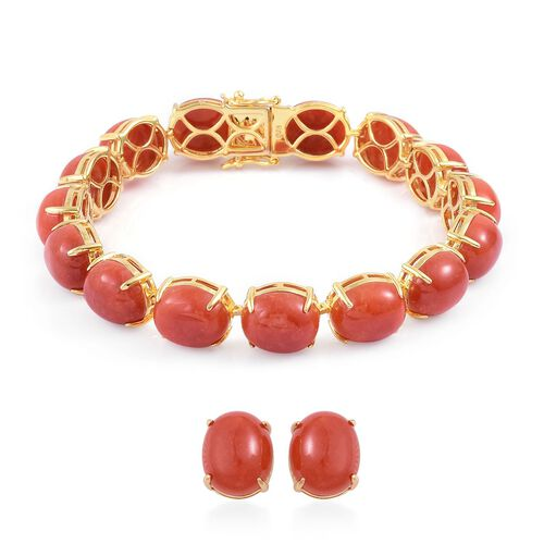 Preview Auction - Burmese Red Jade (Ovl) Bracelet (Size 7.75) and Stud Earrings (with Push Back) in Platinum Overlay Sterling Silver 104.500 Ct.