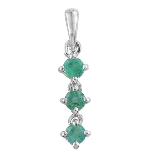 Zambian Emerald 0.50 Ct Trilogy Pendant in Platinum Overlay
