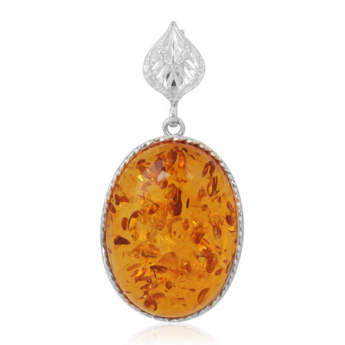 Baltic Amber Pendant in Rhodium Plated Sterling Silver 55.000 Ct.(Stone size 40x30mm)