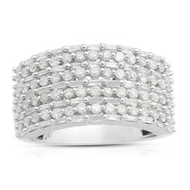 Diamond (Rnd and Bgt) Cluster Ring in Platinum Overlay Sterling Silver 1.000 Ct. Number of Diamonds 115