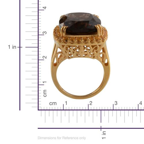 Brazilian Smoky Quartz (Cush 18.50 Ct), Citrine Ring in 14K Gold Overlay Sterling Silver 19.650 Ct.