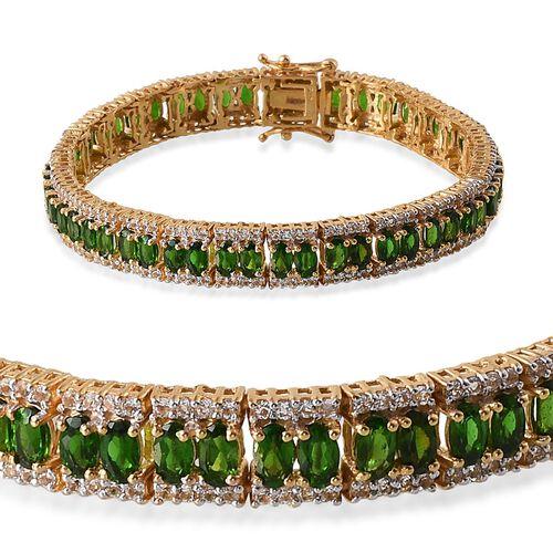 Russian Diopside (Ovl), White Topaz Bracelet in 14K Gold Overlay Sterling Silver (Size 7.5) 17.000 Ct.