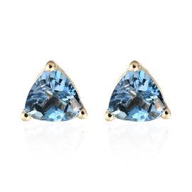 9K Yellow Gold AA Santa Maria Aquamarine (Trl) Stud Earrings (with Push Back) 0.750 Ct.