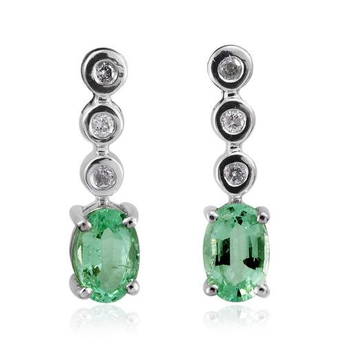 14K W Gold Boyaca Colombian Emerald (Ovl), Diamond Earrings (with Push Back) 1.000 Ct.