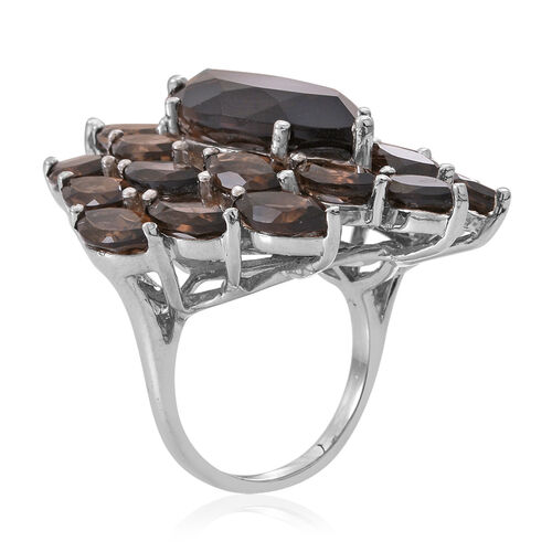 Brazilian Smoky Quartz (Mrq 5.60 Ct) Ring in Rhodium Plated Sterling Silver 20.000 Ct.