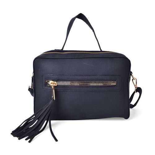 Black Colour Crossbody Bag with Adjustable and Removable Shoulder Strap and Tassel Charm (Size 28.5X19X11 Cm)
