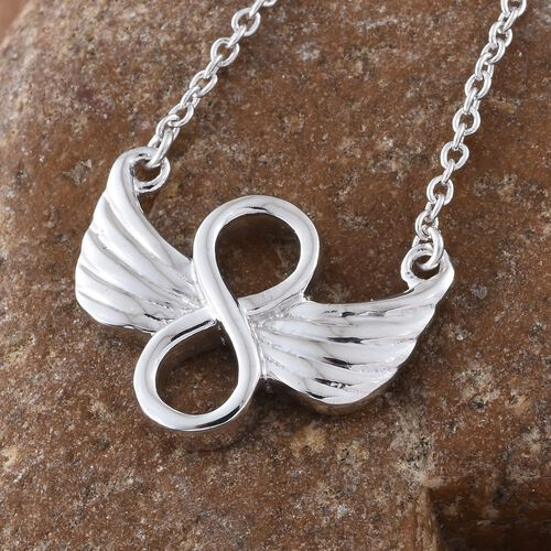 Angel Wings Eternal Love Infinity Necklace in Platinum Overlay Sterling Silver (Size 18), Silver wt 5.00 Gms.