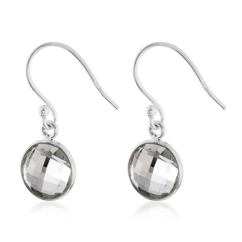 BRIOLETTE RARE DOUBLE SIDED CUT Rio Grande Green Amethyst (Rnd) Hook Earrings in Sterling Silver 6.20 Ct.