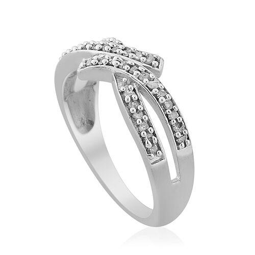 Diamond (Rnd) Criss Cross Ring in Platinum Overlay Sterling Silver 0.200 Ct.