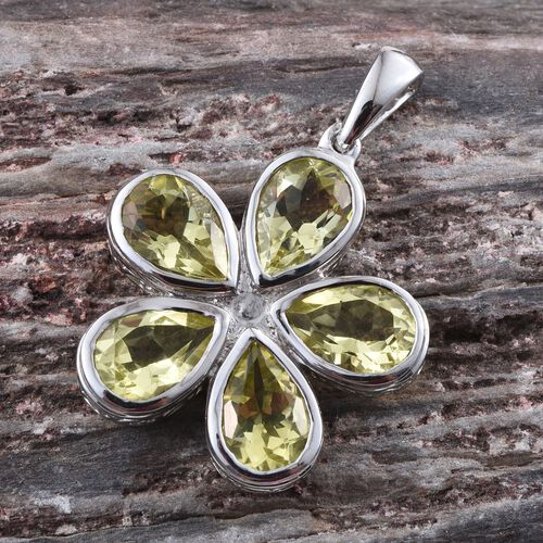Natural Ouro Verde Quartz (Pear) 5 Stone Floral Pendant in Platinum Overlay Sterling Silver 6.500 Ct.