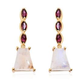 GP Rainbow Moonstone, Rhodolite Garnet and Kanchanaburi Blue Sapphire Earrings (with Push Back) in 14K Gold Overlay Sterling Silver 11.750 Ct.