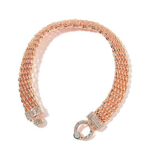 AAA White Austrian Crystal Necklace (Size 16) in Rose Gold Tone