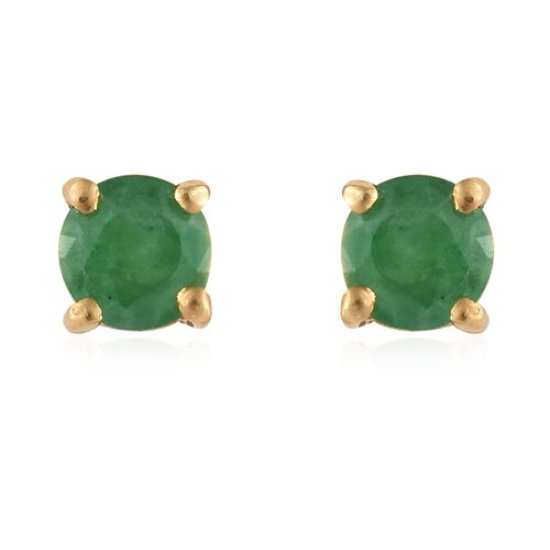 0.50 Carat Kagem Zambian Emerald Stud Earrings in Gold Plated Silver (with Push Back)