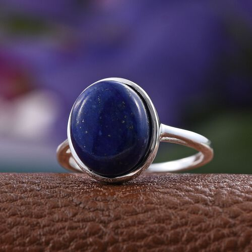 Lapis Lazuli (Ovl) Solitaire Ring in Sterling Silver 5.500 Ct.