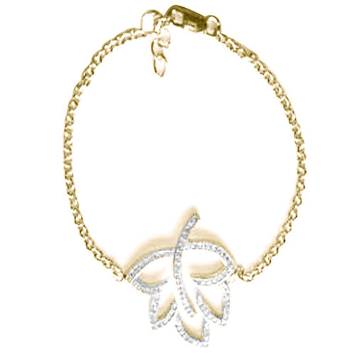 ELANZA AAA Simulated Diamond (Rnd) Leaf Bracelet in 14K Gold Overlay Sterling Silver (Size 7.25 with Extender)