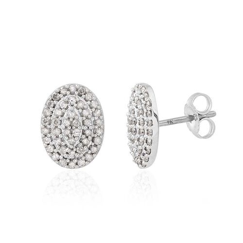 9K W Gold SGL Certified Diamond (Rnd) (I3/ G-H) Stud Earrings (with Push Back) 0.500 Ct.