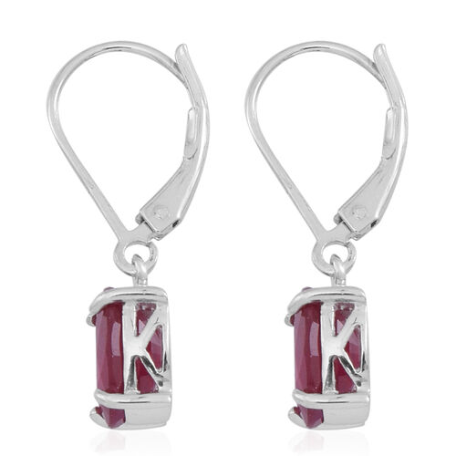 African Ruby (Ovl) Lever Back Earrings in Rhodium Plated Sterling Silver 5.500 Ct.
