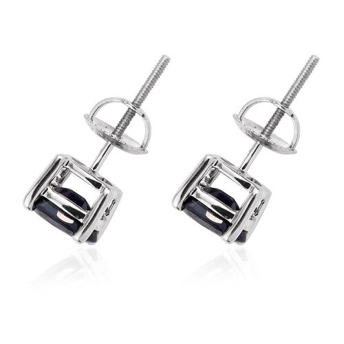 RHAPSODY 950 Platinum 2.25 Carat Kanchanaburi Blue Sapphire Oval Solitaire Stud Earrings with Screw Back.