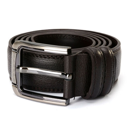 Dark Chocolate Colour Mens Belt with Silver Tone Buckle (Size 46 inch/ Large)
