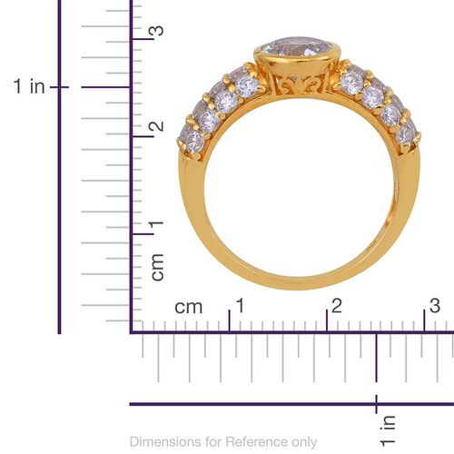 J Francis - 14K Gold Overlay Sterling Silver (Rnd) Ring Made with SWAROVSKI ZIRCONIA 3.480 Ct.