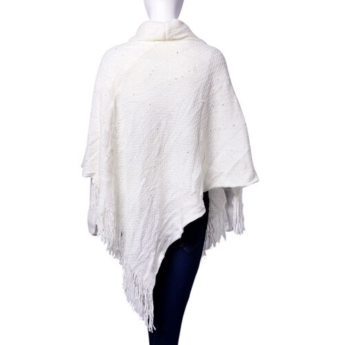 White Colour Poncho with Long Collar and Sequin (Size 90x80 Cm)