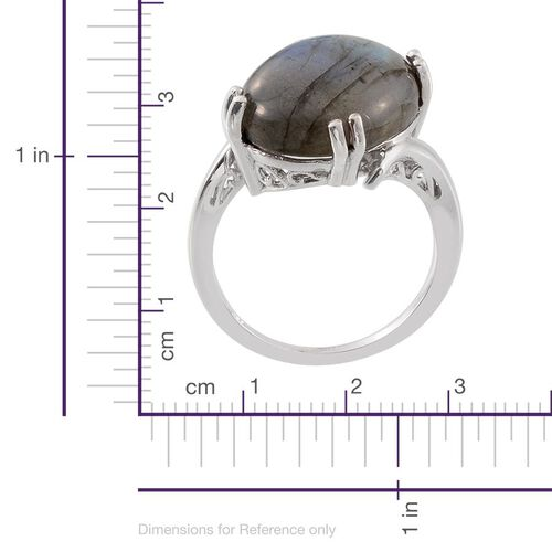 Labradorite (Ovl) Ring in Platinum Overlay Sterling Silver 19.000 Ct.
