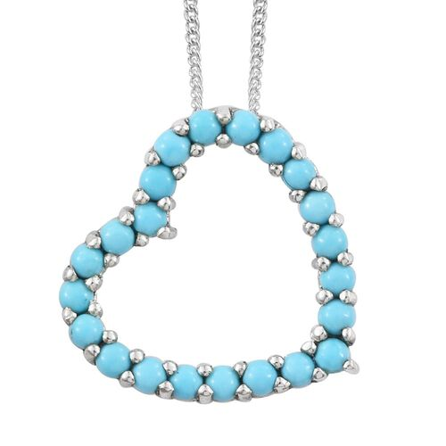 Arizona Sleeping Beauty Turquoise (Rnd) Heart Pendant with Chain in Platinum Overlay Sterling Silver 0.750 Ct.
