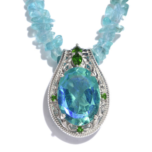 Peacock Quartz (Ovl), Russian Diopside Pendant With Rare Apatite Necklace (Size 20) in Platinum Overlay Sterling Silver.Total Wt 90.00 Cts.
