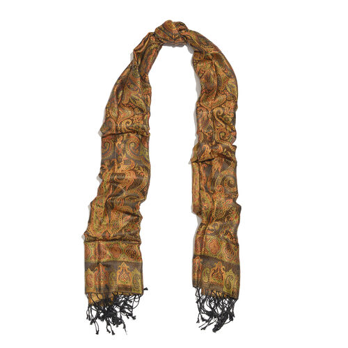 SILK MARK - 100% Superfine Silk Orange, Brown and Multi Colour Paisley Pattern Jacquard Jamawar Scarf with Tassels (Size 180X70 Cm) (Weight 125 to 140 Gms)