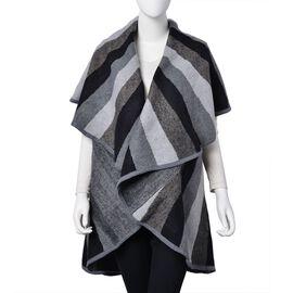 Designer Inspired - Light Grey, Black and Dark Grey Colour Stripes Pattern Kimono (Size 150X140 Cm)