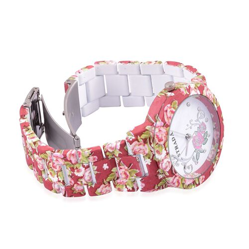 STRADA Japanese Movement White Austrian Crystal Studded Floral Dial Water Resistant Watch in Silver Tone with Stainless Steel Back and Floral Pattern Red Colour Strap