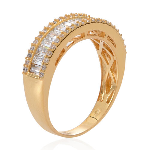 ELANZA AAA Simulated White Diamond (Oct) Ring in 14K Gold Overlay Sterling Silver