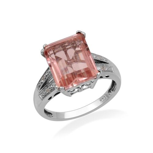 Morganite Colour Quartz (Oct 6.00 Ct), Diamond Ring in Platinum Overlay Sterling Silver 6.020 Ct.