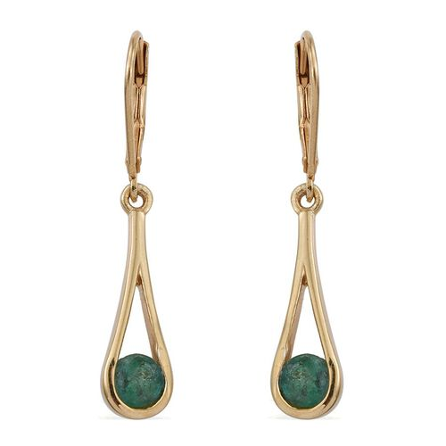 Kagem Zambian Emerald (Rnd) Lever Back Earrings in 14K Gold Overlay Sterling Silver 1.000 Ct.