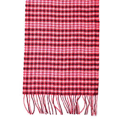 100% Wool Red, Black and Multi Colour Checks Pattern Scarf with Tassels (Size 180X30 Cm)