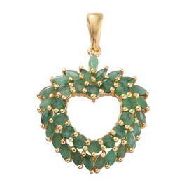 Kagem Zambian Emerald (Rnd) Heart Pendant in 14K Gold Overlay Sterling Silver 3.000 Ct.