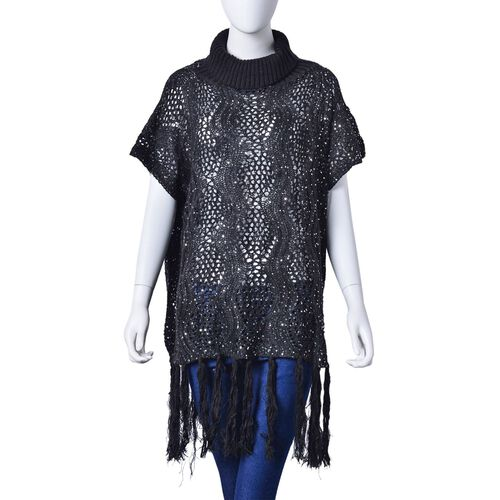 Winter Special - Black Colour Wavy Pattern Knitted High Neck Poncho with Tassels (Size 70X60 Cm)